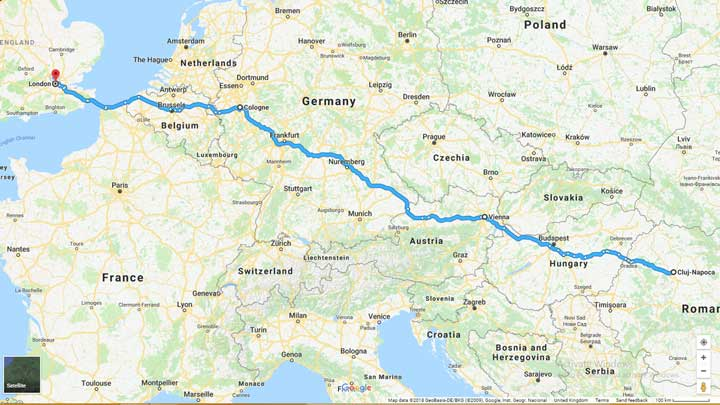 route map into europe